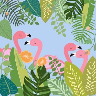 Розовый фламинго в ботаническом тропическом лесе.