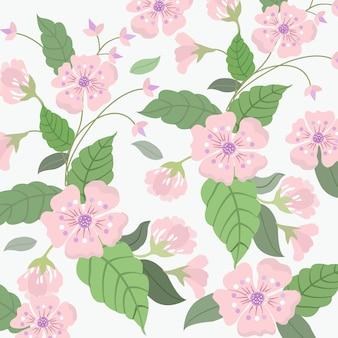 甘いピンクの花と緑の葉のパターン。