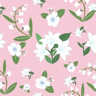 白い花と緑の葉のシームレスパターン。