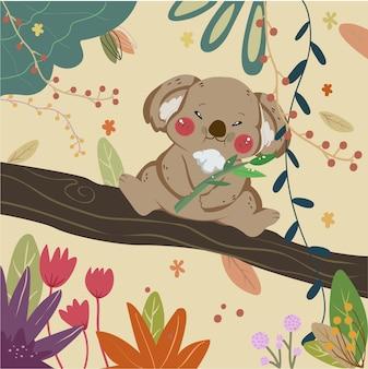 Милый коала медведь на ветке.
