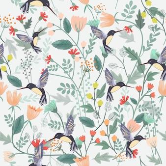 花の森のシームレスパターンで美しい鳥。