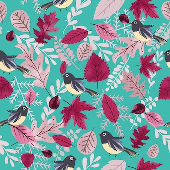 かわいい鳥と美しい紫色の葉のシームレスパターン。