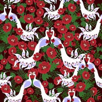 シームレスパターンの赤い花とカップルの白い孔雀。