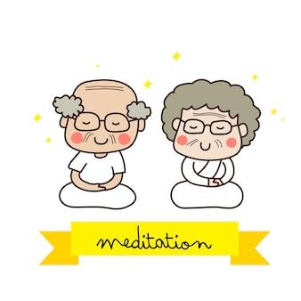 白い服装で瞑想する高齢者のカップル