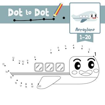 ドットドットゲームと塗り絵の本への飛行機のドット