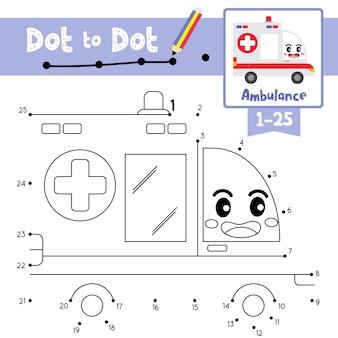 ゲームとぬりえのドットに救急車のドット