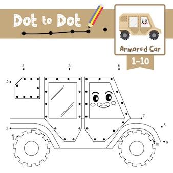 ドットゲームと塗り絵の装甲車ドット