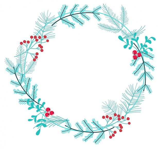 枝や果実で作られたシンプルな冬の花輪