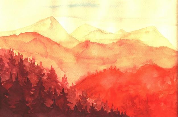 水彩イラスト、山の夕日。