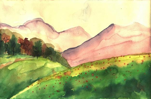 丘と山々と水彩イラスト