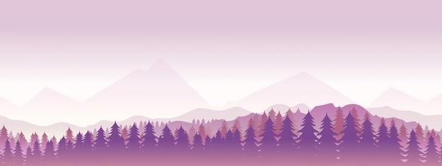 松の木の森と山脈の風景を見る