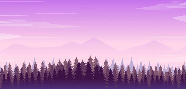 森と山の風景のイラスト