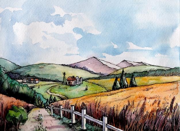 グラフィックスタイルのカラフルな農村風景フィールド小麦。