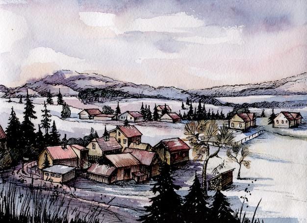 フィンランドの村のある冬景色の水彩画の画像。