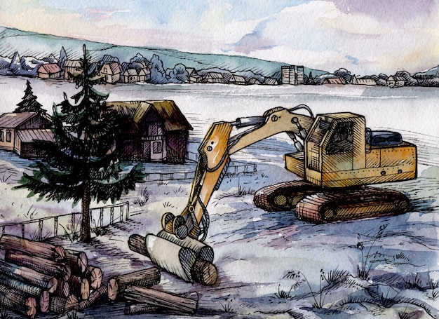 庭の水彩画の掘削機