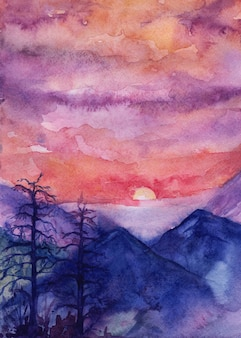 水彩イラスト、山の夕日