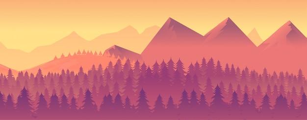 Природа пейзаж с горами и лесом