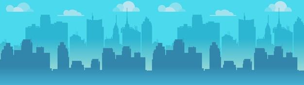都市のスカイラインイラスト、青い都市のシルエット。