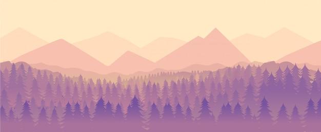 自然の風景、山、森