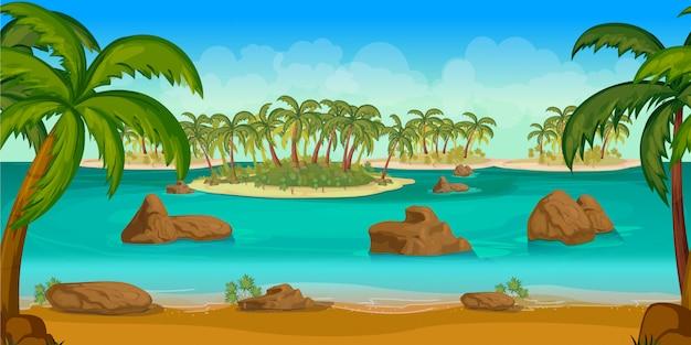 熱帯の島々のゲームの背景