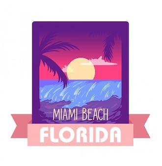 フロリダ州マイアミ夏のベクトル図の概念