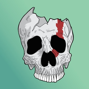 壊れた頭蓋骨
