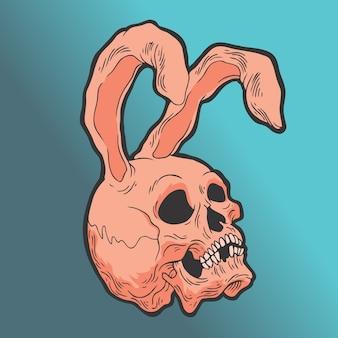 ウサギの耳の頭蓋骨。手描きスタイルベクトル落書きデザインイラスト。