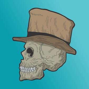 Череп в шляпе. рисованной стиль вектор каракули дизайн иллюстрации.