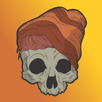 Классный череп. рисованной стиль вектор каракули дизайн иллюстрации.