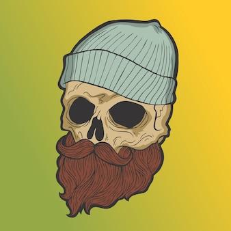 ひげの頭蓋骨。手描きスタイルベクトル落書きデザインイラスト。