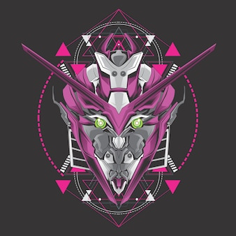 紫色のロボットヘッド
