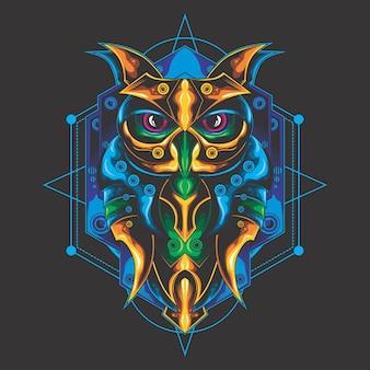 神秘的なフクロウの神聖な幾何学