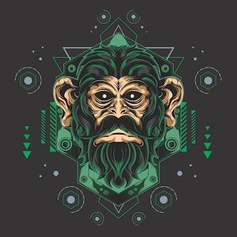 壮大な猿の神聖な幾何学