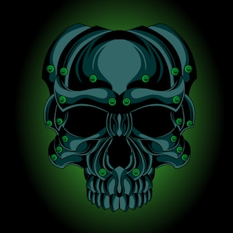 Зеленый железный череп
