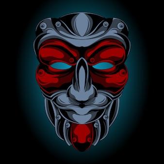 侍マスクの笑顔