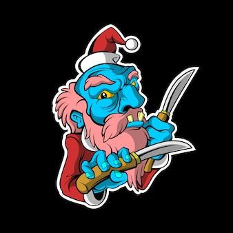 Злой санта клаус на рождественской наклейке на темном