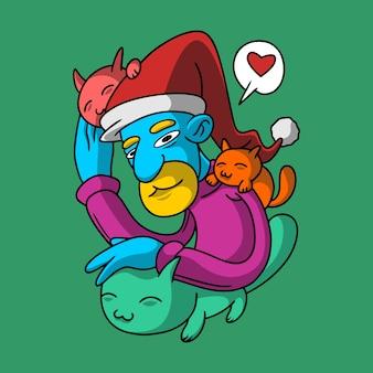 Кошки на рождество рисованной стиль