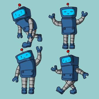 かわいいロボットの手描きスタイル