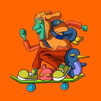 スケートボードの手描きスタイルで飛ぶ