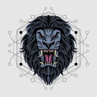 神聖な幾何学を持つ壮大な暗いライオン