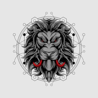 神聖な幾何学と赤い牙のライオン