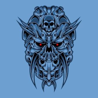 Иллюстрация кибер-черепа