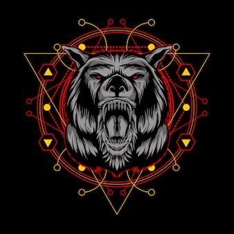 神聖な幾何学の図とキラーオオカミ