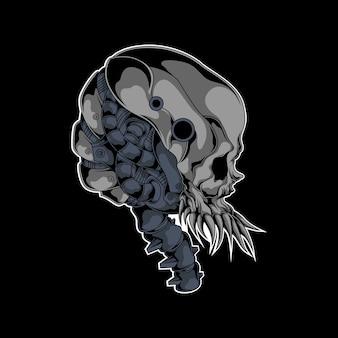 Механическая иллюстрация черепа