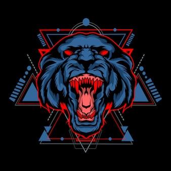 Темный тигр со сакральной геометрией