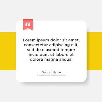 トレンディな紙のスタイルでテキストのプレースホルダーを持つ引用テンプレート