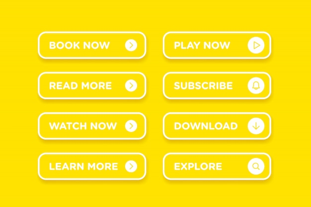 黄色のきれいなスタイルボタンアイコンベクトルモダンな素材のセット