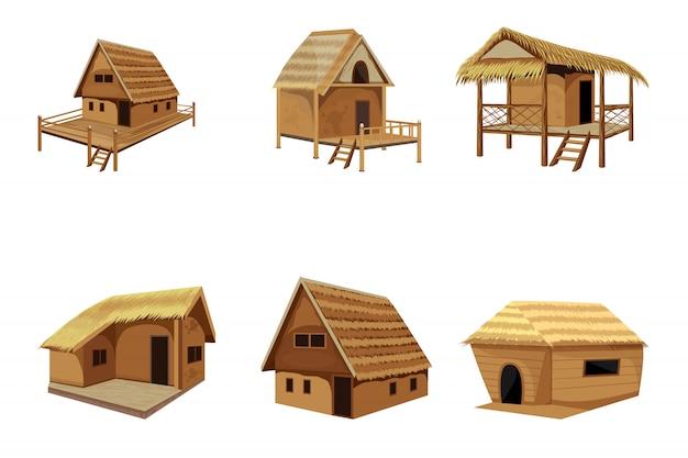 わら小屋ベクトルデザイン