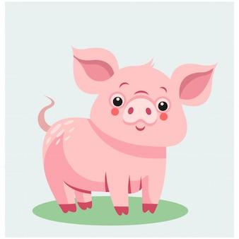 かわいい動物の動物サファリピンクの豚のマスコット漫画のキャラクター