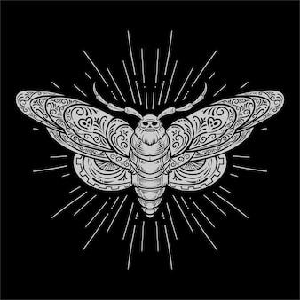 蛾のレトロなスタイル